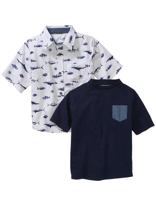 American Hawk Boys' 2 Piece Short Sleeve Woven Shirt with Pocket Tee