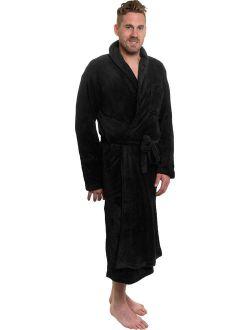 Mens Black Plush Shawl Collar Luxury Kimono Bath Robe (xxl)