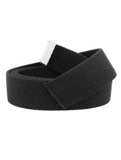Replacement Canvas Web Belt 1.25 Military Width Silver Tip Small Black