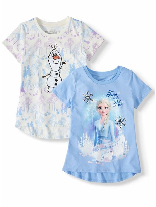 Disney Frozen 2 Elsa or Anna Sequin & Foil Graphic T-Shirts, 2-Pack (Little Girls & Big Girls)