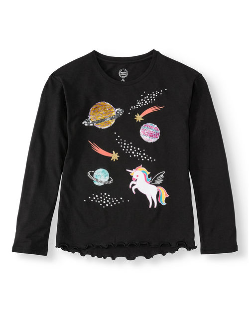 Wonder Nation Flip Sequin Long Sleeve T-Shirt (Little Girls, Big Girls & Plus)