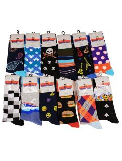12 Pairs Men's Different Touch Novelty Soft Classic Funny Dress Crew Socks