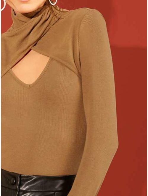 Crisscross Cutout Front Rib-knit Top