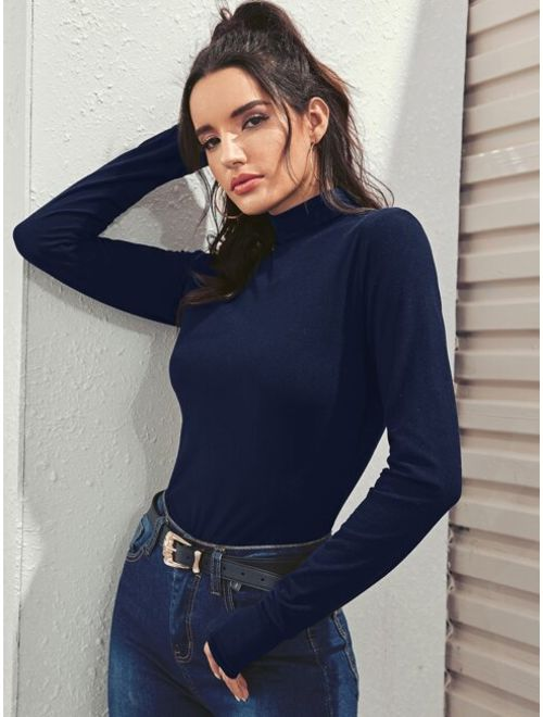 High Neck Skinny Tee With Thumb Holes