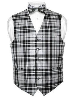 Men's Plaid Design Dress Vest & BOWTie Black Gray White BOW Tie Set