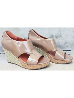 Air Patent Leather Beige Open Toe Espadrilles Wedge Sandals Womens 8