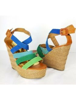 Body Central Wedge Sandals Heels 8 Dorothy Green Blue Brown Strappy