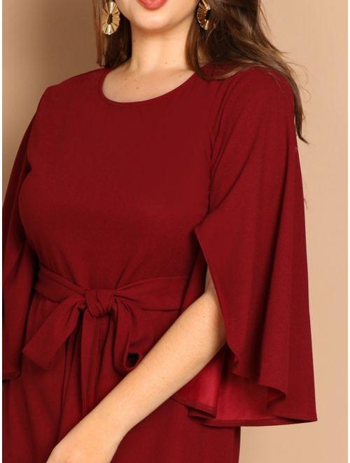 Plus Flutter Sleeve Tie Waist Bodycon Dress