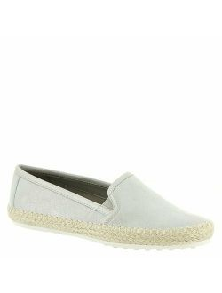 Womens Lets Drive Leather Round Toe Loafers, Silver Suede, Size 9.5