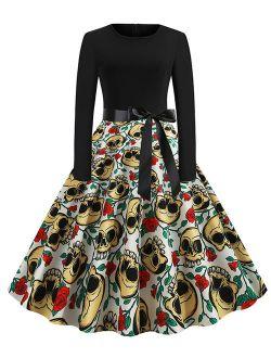 Women's Halloween 50s Rockabilly Casual Long Sleeve Cocktail Midi Dress