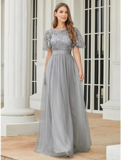 Womens Elegant Embroidery A-line Bridesmaid Dresses For Women 00904 Grey Us4