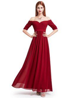 Women's Elegant Full-length Strapless Pleated Chiffon Wedding Guest Dresses For Women 07411
