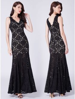 Women's Sexy Fish Tail Lace Long Formal Evening Ball Gown Mother Of The Bride Dresses For Women 07389 Us 4