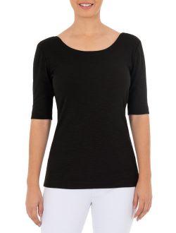 Women's Elbow Sleeve Scoop Neck T-shirt