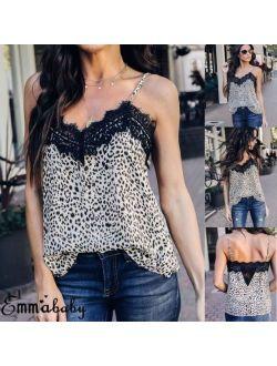 Women Sexy V Neck Leopard Print Camisole Tank Vest Blouse Lace Cami Crop Tops
