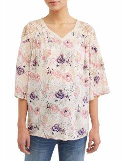 Liz Lange Maternity 3/4 Sleeve Boho Top With Mesh and Crochet Details
