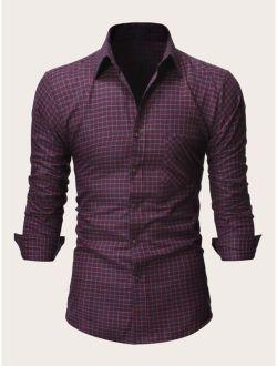 Men Plaid Button Front Pocket Shirt