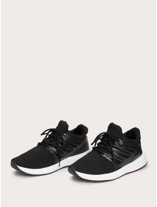 Men Lace-up Front Knit Trainers