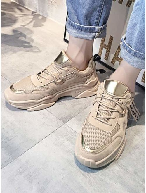 Men Letter Graphic Lace-up Chunky Sneakers