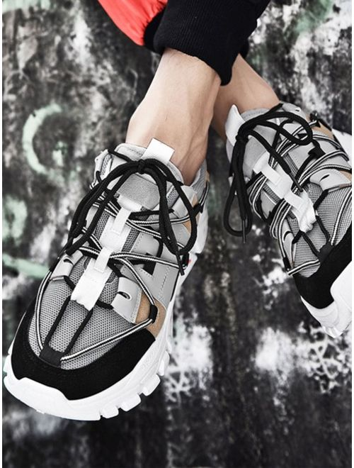 Men Lace-up Front Chunky Sole Trainers