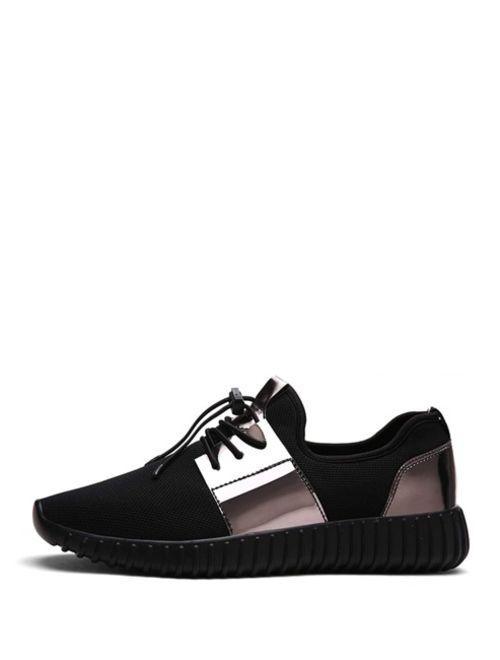Men Metallic Detail Lace Up Sneakers