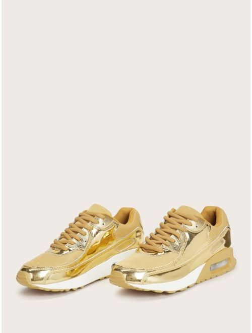 Men Metallic Lace-up Front Sneakers