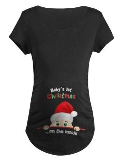 KABOER Women's Letters Christmas Print Loose Long Women's Tops Unique Santa Print Cute Funny Pregnant Women Christmas Gifts Casual T-Shirt Tops Cotton Maternity Wear
