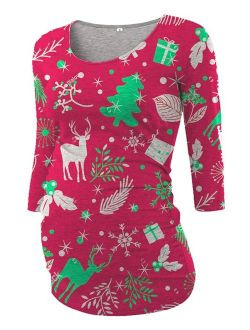 Maternity Colorful Christmas Printed Tops Long Sleeve Side Ruching Womens Shirt