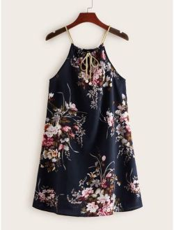 Pearls Tie Neck Floral Print Dress