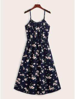 Floral Print Elastic Waist Cami Dress