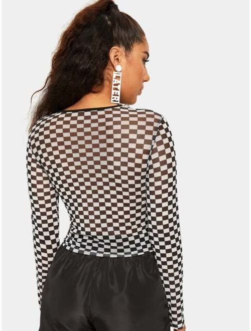 Checkerboard Cut Out Sheer Top
