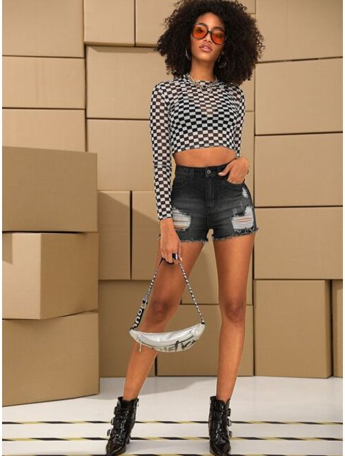 Checker Skinny Sheer Crop Tee