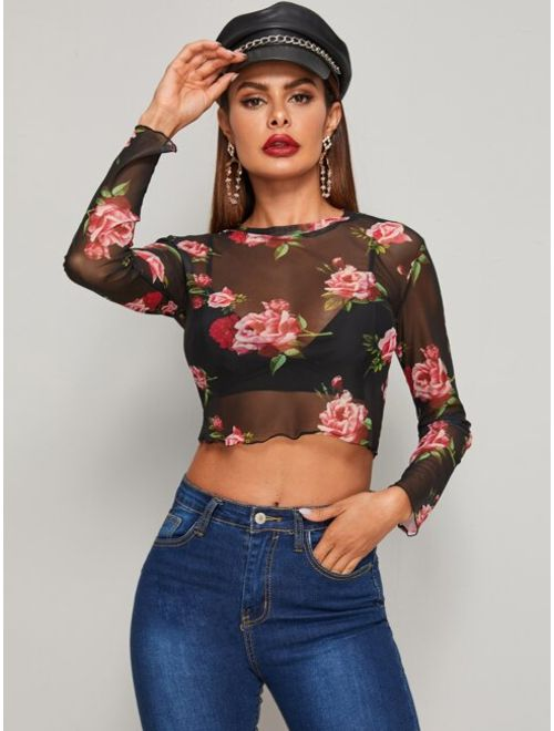 Sheer Mesh Floral Pattern Crop Top