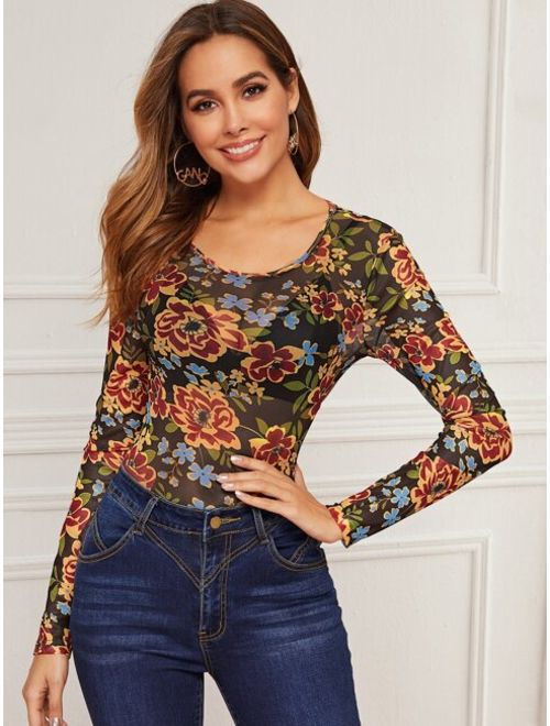 Floral Print Sheer Mesh Top