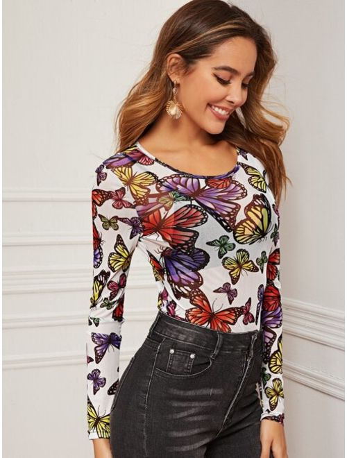 Butterfly Print Sheer Mesh Top