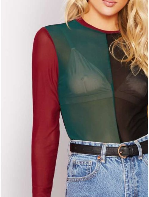 Colorblock Sheer Mesh Top Without Bra