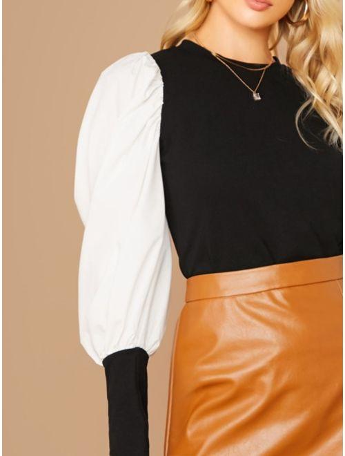 Two Tone Gigot Sleeve Top