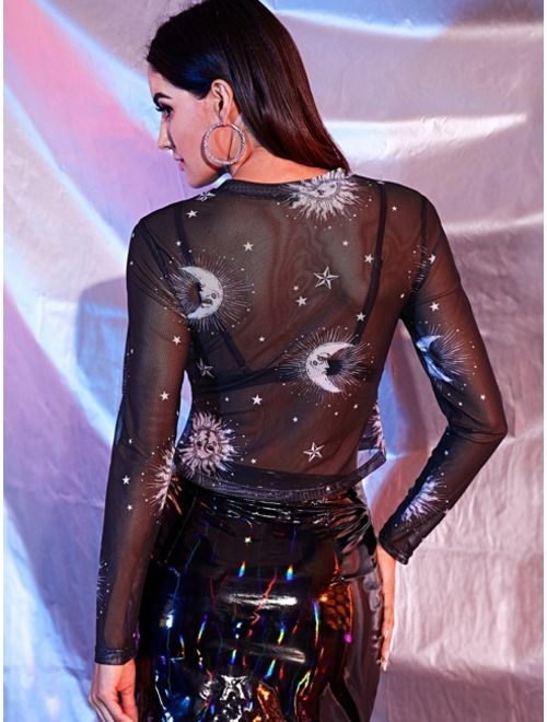 Galaxy Print Sheer Mesh Top Without Bra