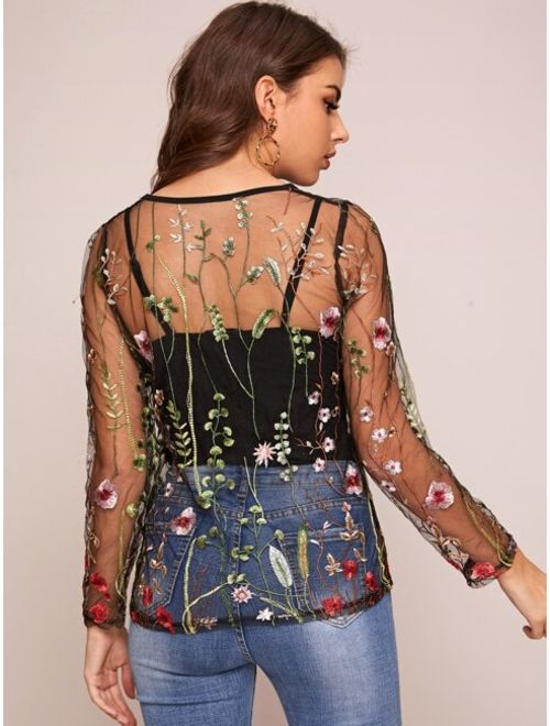 Plants Embroidery Sheer Mesh Top