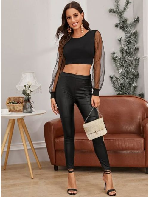 Sheer Mesh Sleeve Backless Knot Crop Top