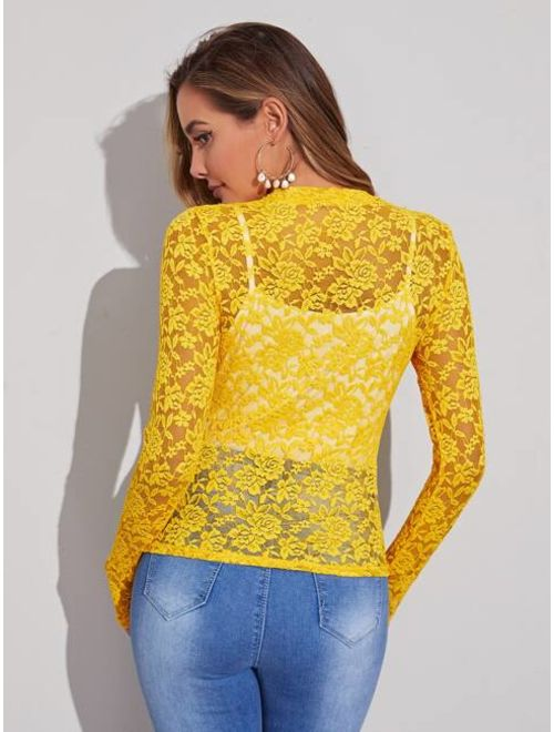 Neon Yellow Sheer Lace Top Without Camisole