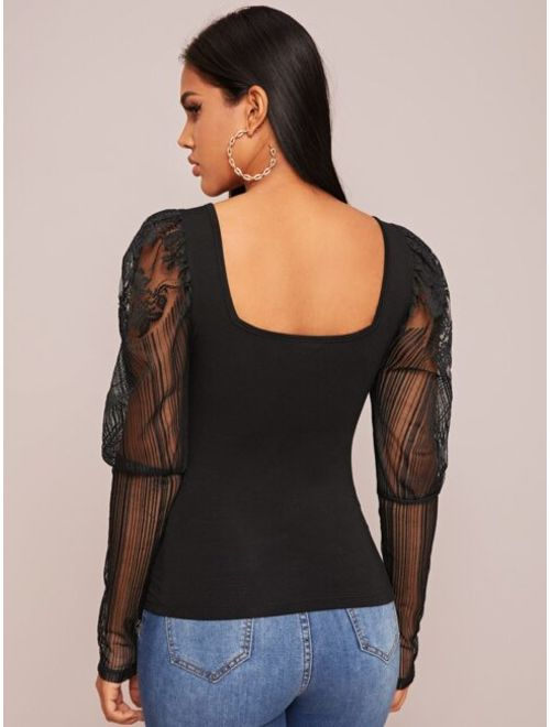 Square Neck Lace Leg-of-mutton Sleeve Top