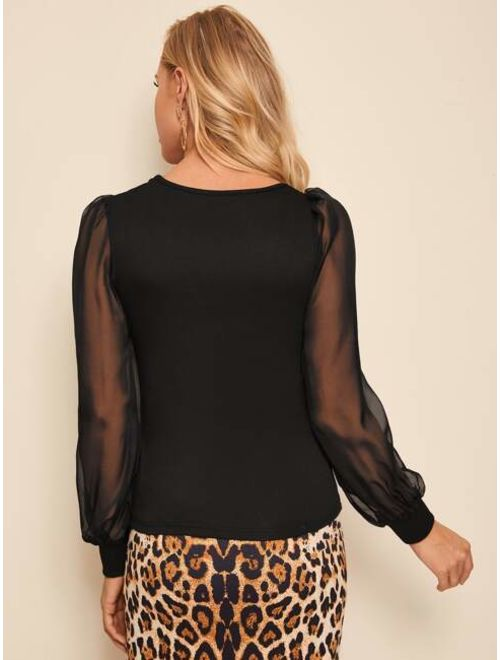 Square Neck Contrast Mesh Sheer Sleeve Top