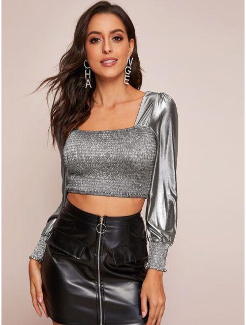 Square Neck Shirred Metallic Crop Top