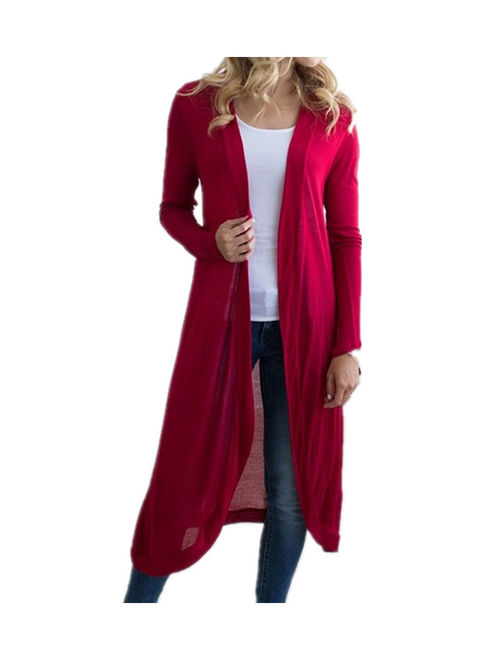 DYMADE Women Basic Long Sleeve Knit Open Front Cardigan Sweaters Outerwear