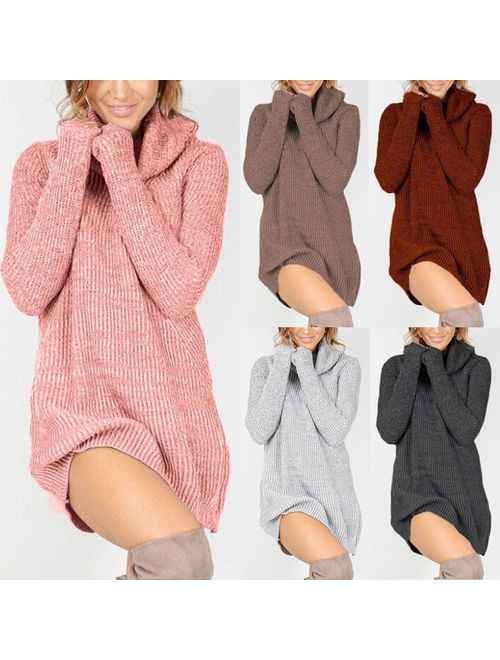 Womens Cowl Neck Loose Long Sleeve Oversize Sweater Jumper Shirt Tops Mini Dress