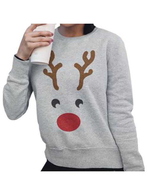Fancyleo Women's Christmas Reindeer Sweater Long Sleeve Pullover Fawn Sweater