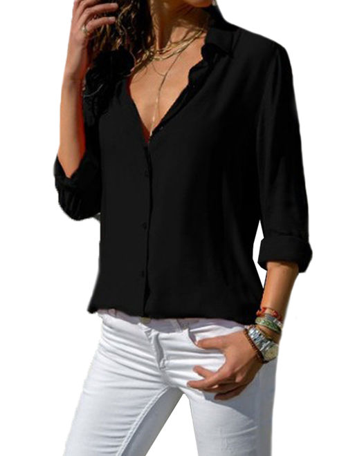 Women's Long Sleeve V Neck Office OL Work Casual Loose T Shirts