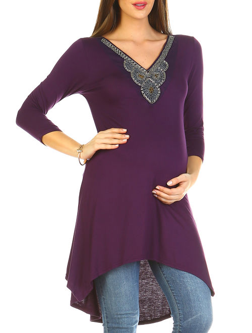 Women's Maternity Beaded Tunic Top - Extended Sizes Available