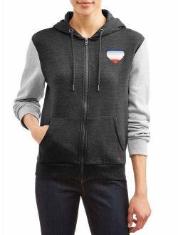 2-tone Ombre Heart Zip-up Hoodie Jacket Women's